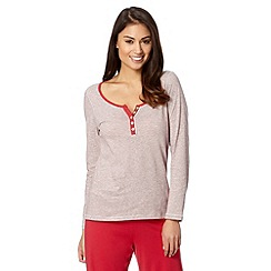 Lounge & Sleep - Red striped Christmas pyjama top