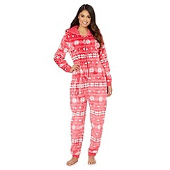 Lounge & Sleep - Red luxe Christmas snowflake velour fleece onesie