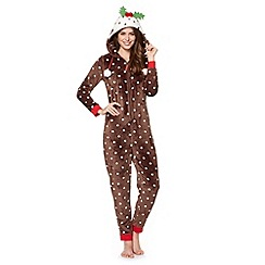 Lounge & Sleep - Brown Christmas pudding onesie