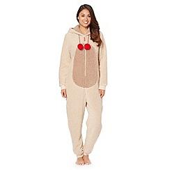 Lounge & Sleep - Brown Christmas 'Rudolph' Sherpa fleece onesie