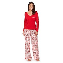 Presence - Red jersey top and woodland print bottoms pyjama set