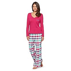 Presence - Dark pink jersey top and checked bottoms pyjama set