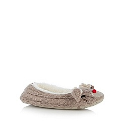 Presence - Brown cable Rudolph ballet slippers