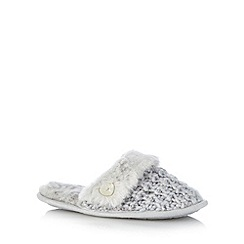 Presence - Pale grey chunky knit mule slippers