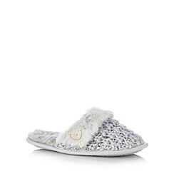 Presence - Pale grey chunky knit mule slippers