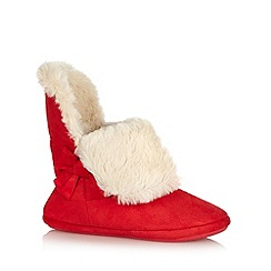 Lounge & Sleep - Red faux fur roll cuff slipper boots