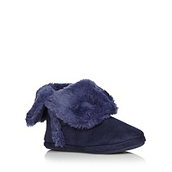 Lounge & Sleep - Navy faux fur roll cuff slipper boots