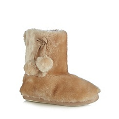 Lounge & Sleep - Light gold faux fur slipper boots