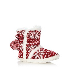 Lounge & Sleep - Red festive knitted slipper boots