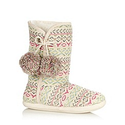 Lounge & Sleep - Pale pink pastel fairisle knit slipper boots