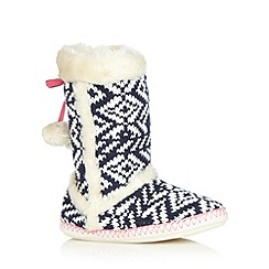 Lounge & Sleep - Navy fairisle knitted slipper boots