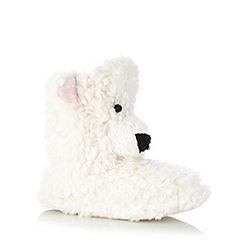 Lounge & Sleep - Cream polar bear fleece slipper boots