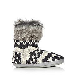 RJR.John Rocha - Designer navy fairisle knitted slipper boots
