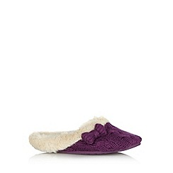 RJR.John Rocha - Designer purple chunky cable knitted mule slippers