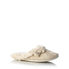 RJR.John Rocha - Designer natural chunky cable knit mule slippers