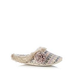 RJR.John Rocha - Designer natural jacquard fairisle knit mule slippers