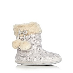Floozie by Frost French - Grey metallic cable knit slipper boots