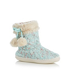 Floozie by Frost French - Pale green cable knitted slipper boots