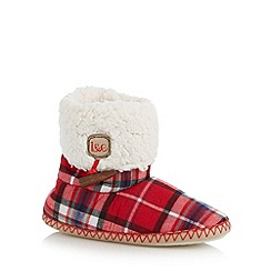 Iris & Edie - Red checked cuff slipper boots