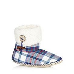 Iris & Edie - Blue checked fleece cuff slipper boots