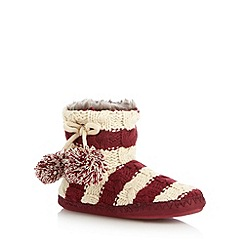Iris & Edie - Dark red striped cable knit slipper boots