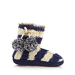 Iris & Edie - Navy striped cable knit slipper boots