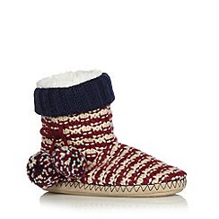 Iris & Edie - Red striped knit slipper boots