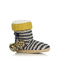 Iris & Edie - Navy striped knit slipper boots