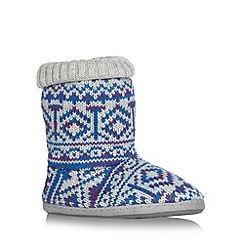 Iris & Edie - Blue aztec knitted slipper boots