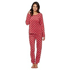 Presence - Dark pink spotted fleece pyjama set