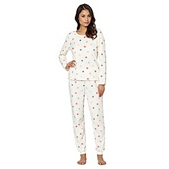Presence - Cream spotted fleece pyjama set