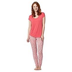 J by Jasper Conran - Designer dark peach pansy print jersey pyjama set