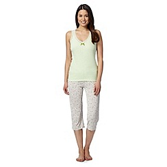 J by Jasper Conran - Designer green lace vest cropped pyjama set