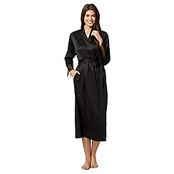 J by Jasper Conran - Designer black satin lace dressing gown