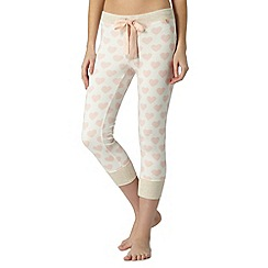 Floozie by Frost French - Natural heart printed cropped pyjama bottoms