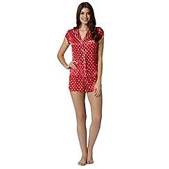 Floozie by Frost French - Dark pink satin spotted pyjama set