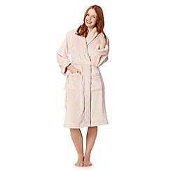 J by Jasper Conran - Designer pale pink luxury fleece dressing gown