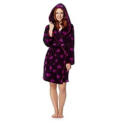 Floozie by Frost French - Dark purple spots and hearts fleece dressing gown