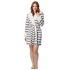 Iris & Edie - Grey striped animal ear hooded dressing gown