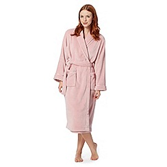 Lounge & Sleep - Pale pink shawl collar fleece dressing gown