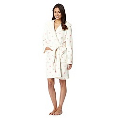 Lounge & Sleep - Cream star fleece hooded dressing gown