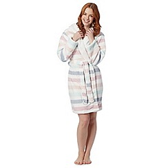 Lounge & Sleep - White pastel fleece hooded dressing gown