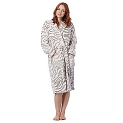 Lounge & Sleep - Pink zebra striped fleece dressing gown