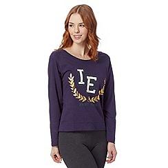Iris & Edie - Navy logo embroidered crest night top