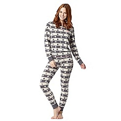 Iris & Edie - Grey star striped pyjama set