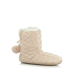 Floozie by Frost French - Pale pink sparkle cable knit slipper boots