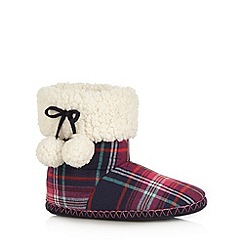 Iris & Edie - Pink checked pom pom slipper boots