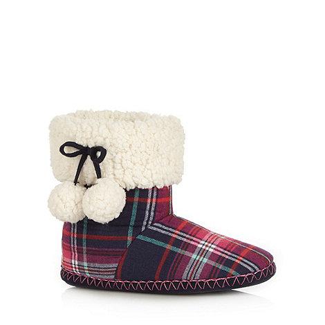 Iris & Edie - Pink checked pom pom slipper boots