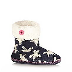Iris & Edie - Navy star knit slipper boots
