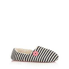 Iris & Edie - Navy striped knitted mule slippers